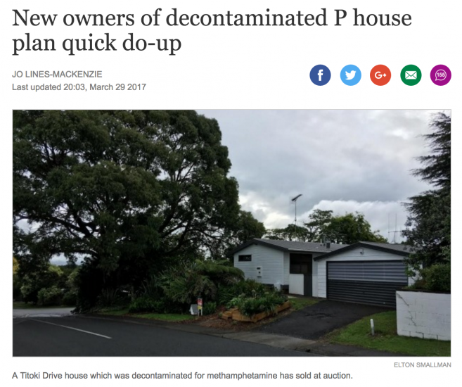 Decontaminated house resold by owners. Image Credit: Stuff