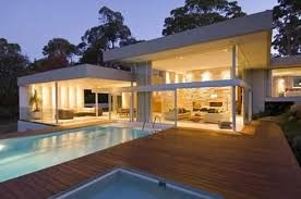 modern house with pool,