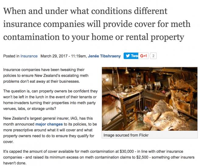 Article on meth decontamination insurance